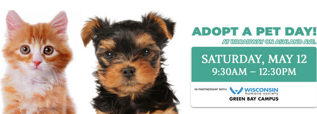 adopt a pet day at broadway automotive banner with puppy and kitten and date and time information