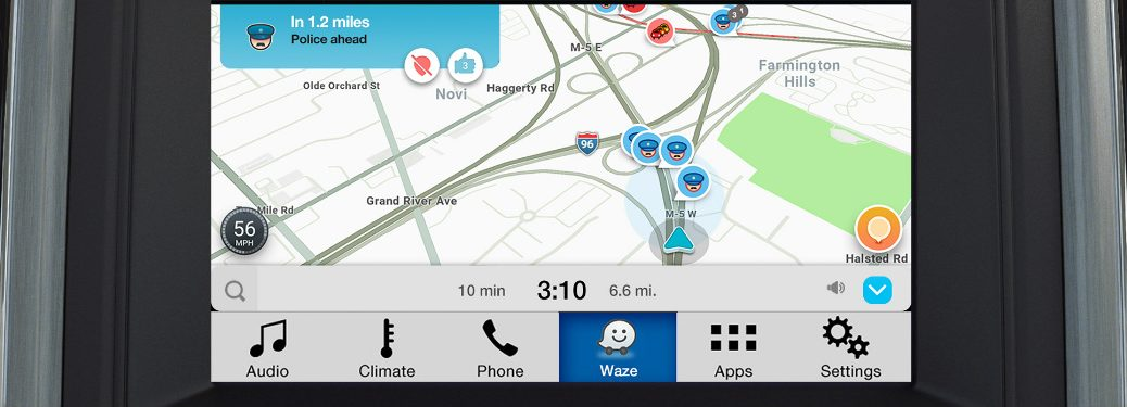 waze mobile application navigation map on ford vehicle sync-3 infotainment interface