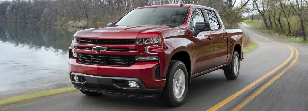front and side view of red 2019 chevrolet silverado 1500