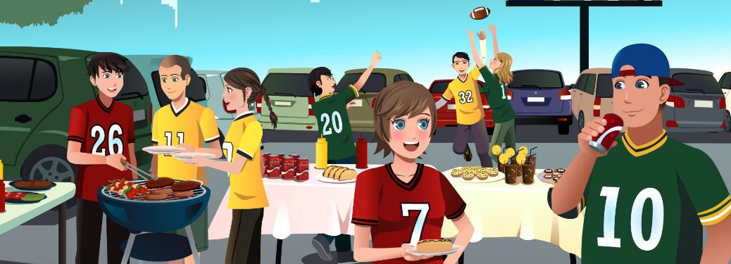 graphic illustration of young people at football tailgate party