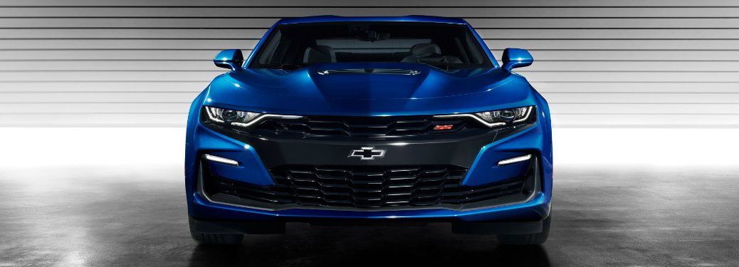 front view of blue 2019 chevrolet camaro ss