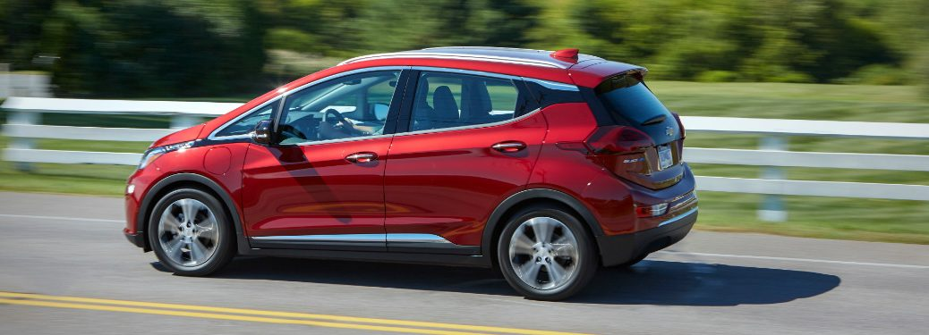 side view of red 2019 chevrolet bolt ev