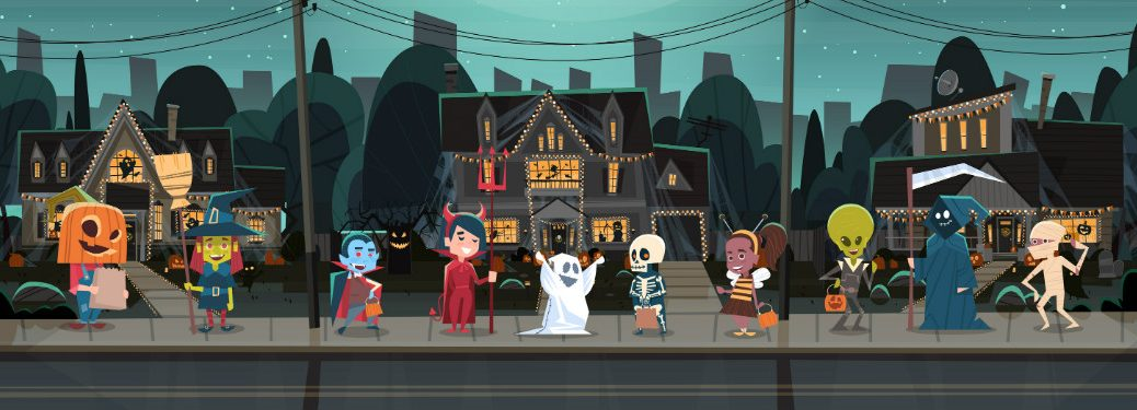 graphic illustration of kids trick-or-treating in neighborhood on halloween night