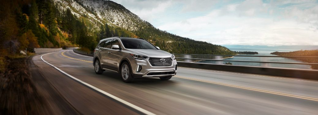 front and side view of silver 2019 hyundai santa fe xl