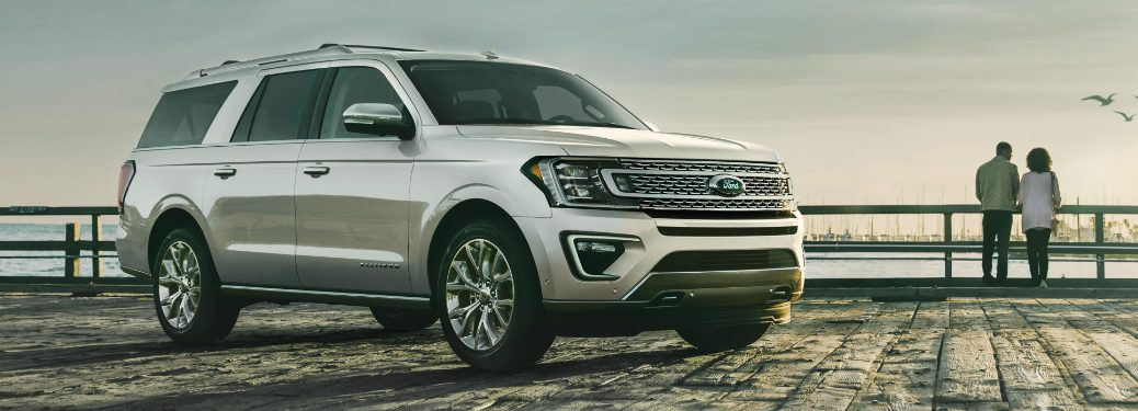 front and side view of white 2019 ford expedition