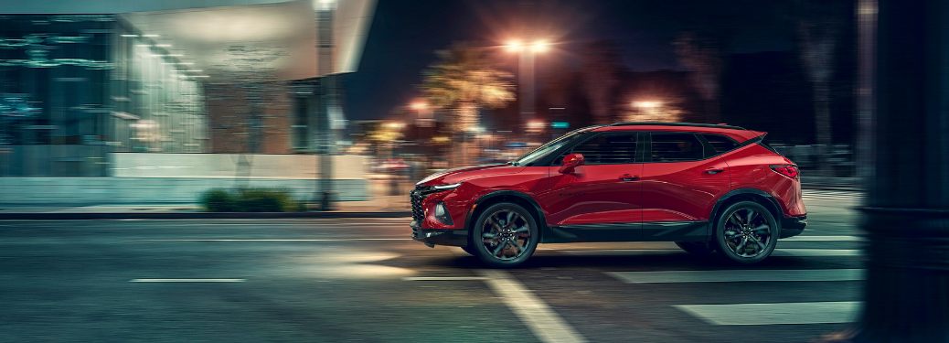 side view of red 2019 chevy blazer