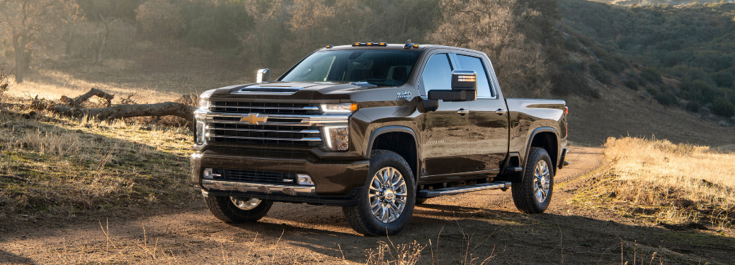 front and side view of black 2020 chevy silverado hd