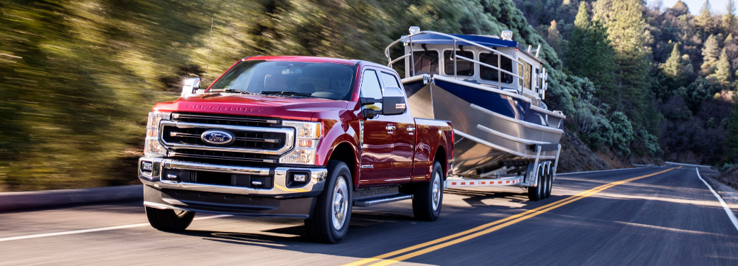 front and side view of 2020 ford f-250 super duty towing boat