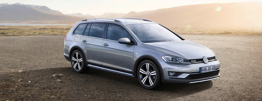 front and side view of silver 2019 volkswagen golf alltrack