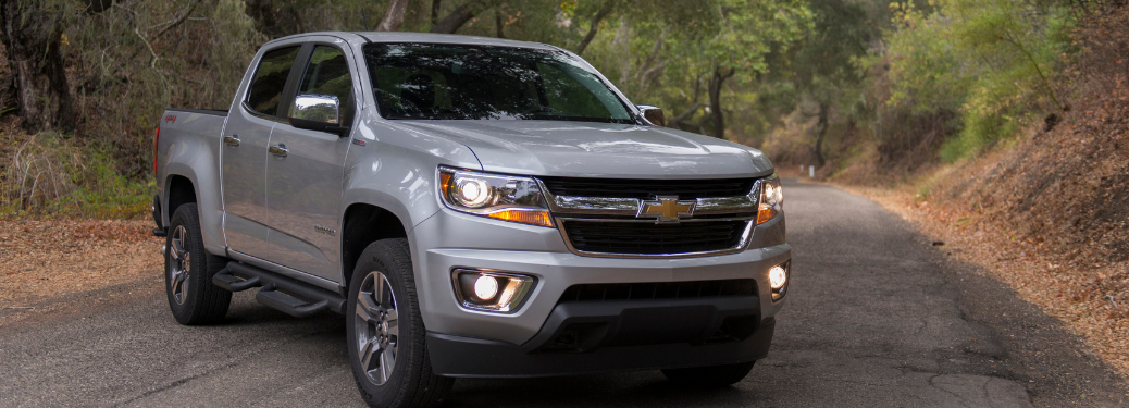 front and side view of silver 2019 chevy colorado
