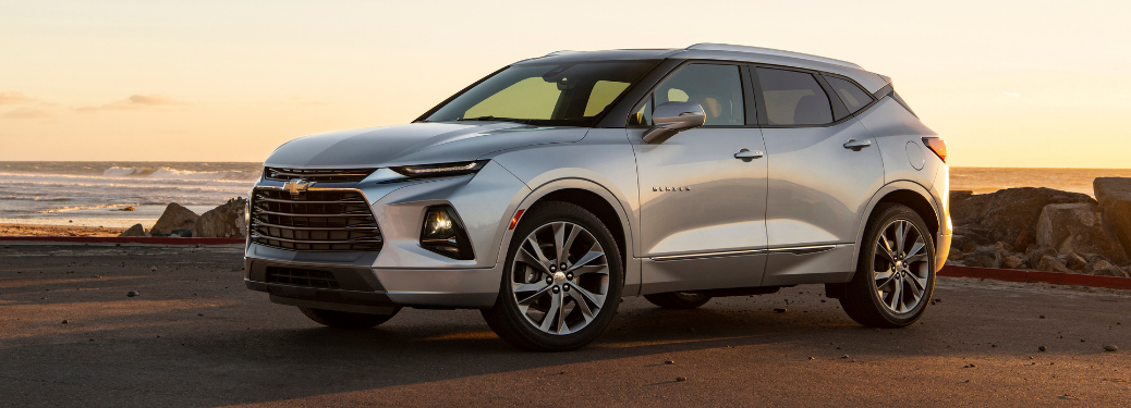 front and side view of silver 2019 chevy blazer premier