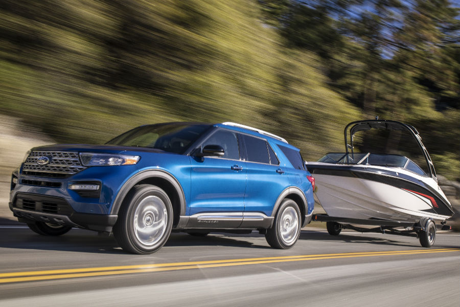 2020 Ford Explorer Exterior Driver Side Front Profile with Boat