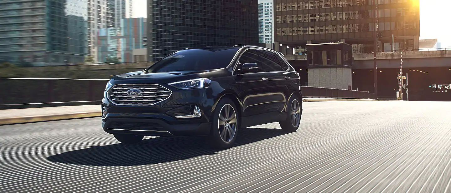 2019 Ford Edge Exterior Driver Side Front Profile in Agate Black