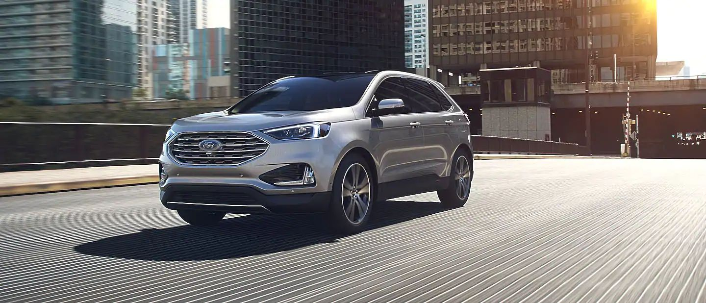 2019 Ford Edge Exterior Driver Side Front Profile in Ingot Silver