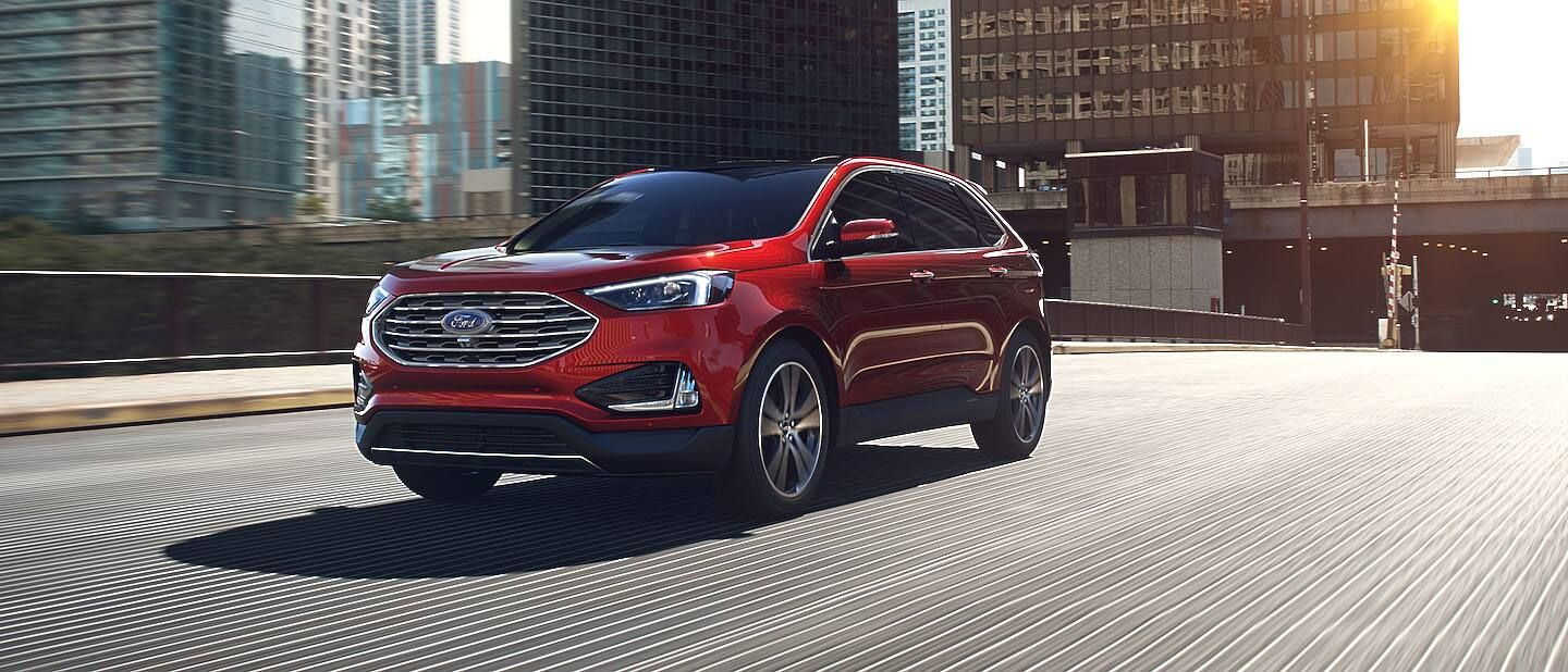 2019 Ford Edge Exterior Driver Side Front Profile in Ruby Red