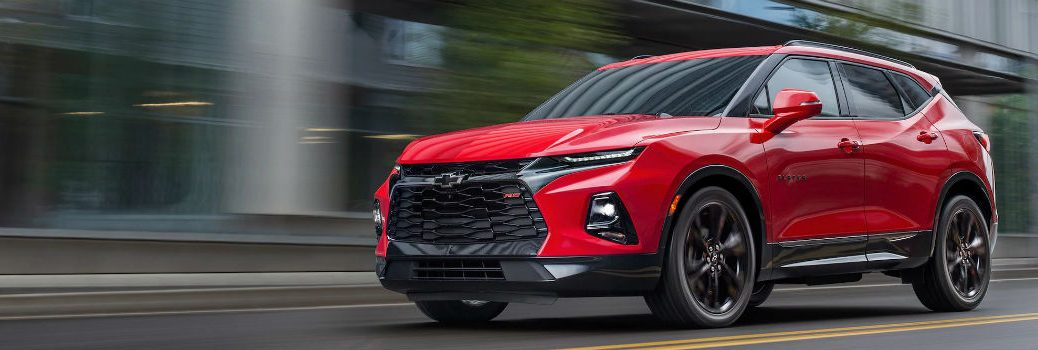 2019 Chevy Blazer Exterior Driver Side Front Profile in Red Hot & in Motion