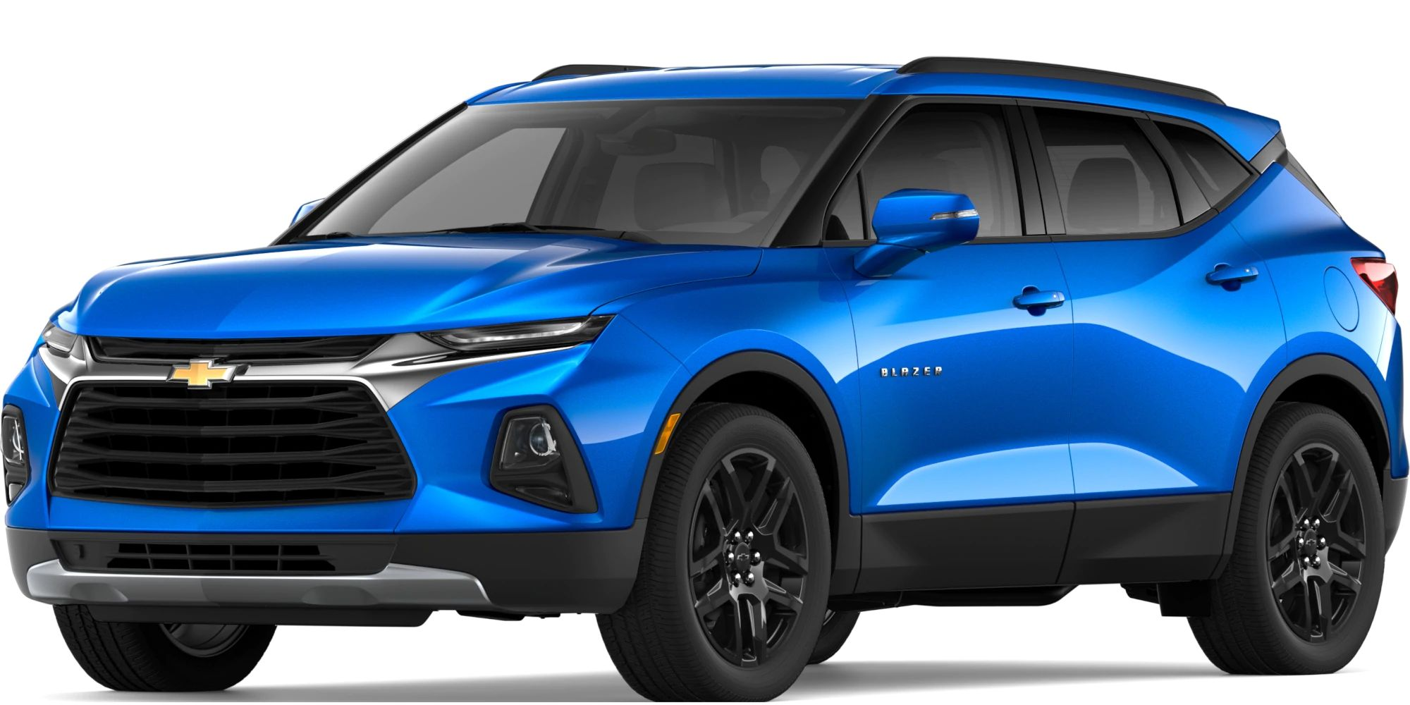2019 Chevy Blazer Exterior Driver Side Front Profile in Kinetic Blue Metallic