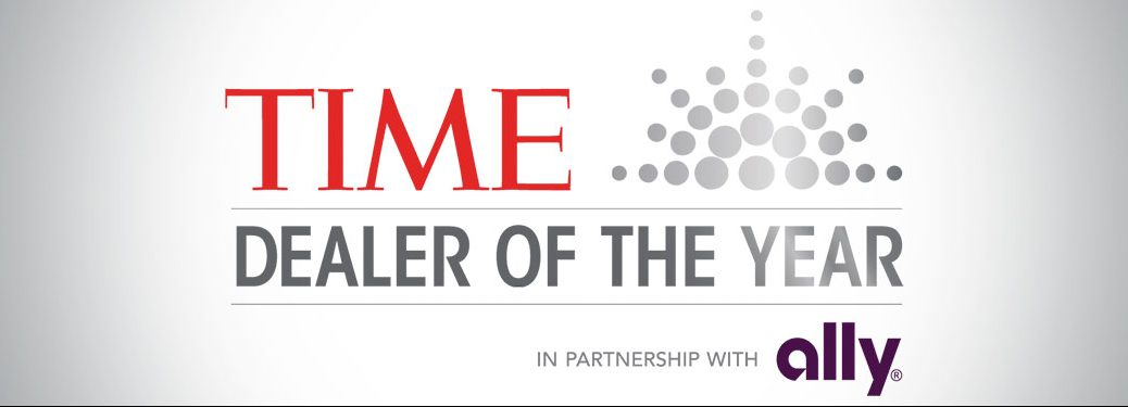 Graphic with the TIME Dealer of the Year in partnership with Ally logo
