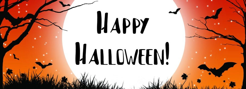 "Orange, white and black Halloween graphic with the words ""Happy Halloween!"""