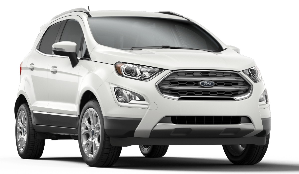 Front passenger angle of the 2019 Ford EcoSport in Diamond White color