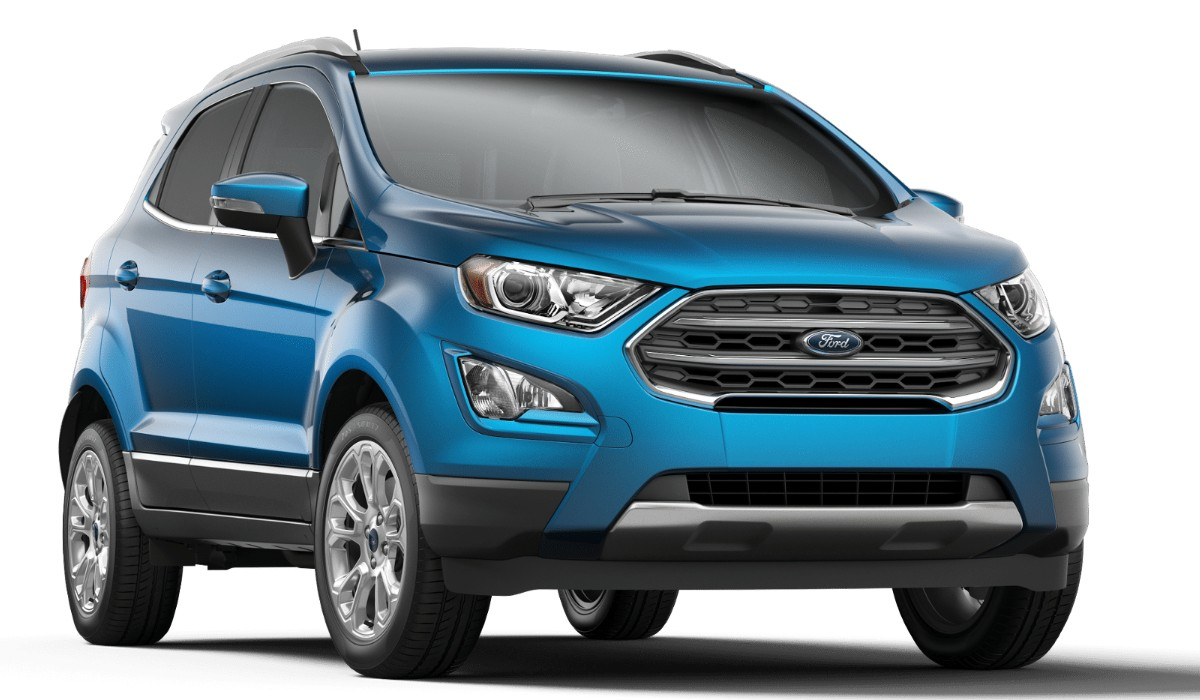 Front passenger angle of the 2019 Ford EcoSport in Blue Candy color
