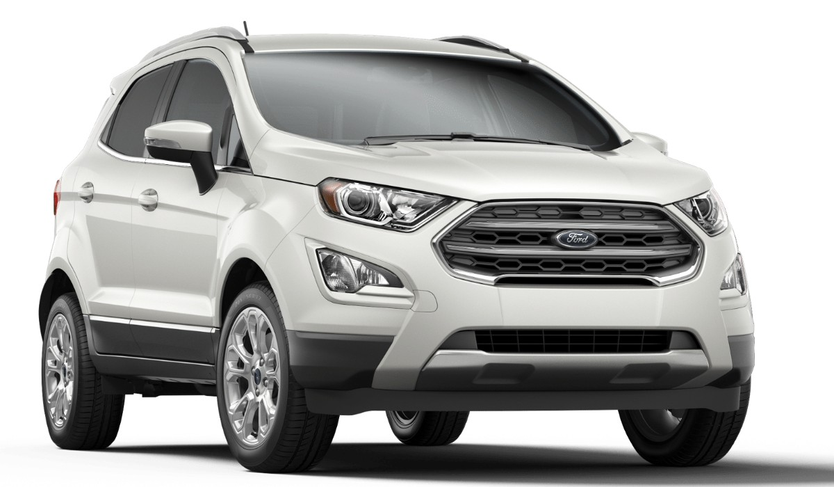 Front passenger angle of the 2019 Ford EcoSport in White Platinum color