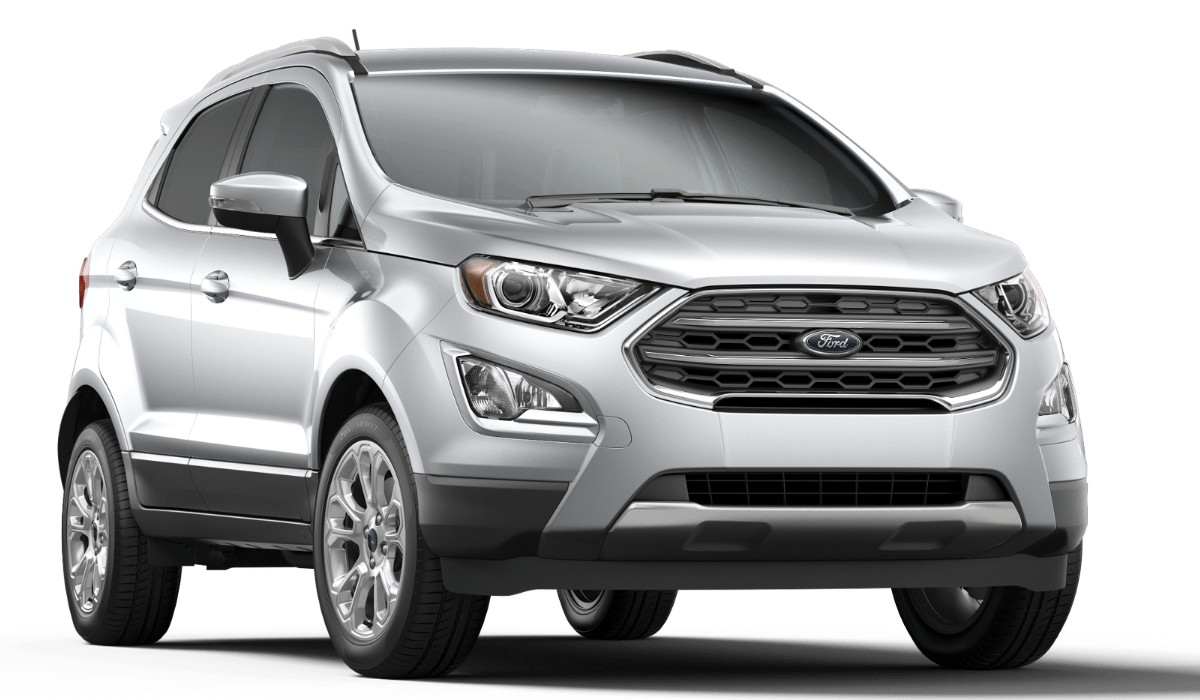 Front passenger angle of the 2019 Ford EcoSport in Moondust Silver color