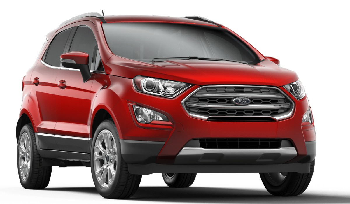 Front passenger angle of the 2019 Ford EcoSport in Ruby Red color