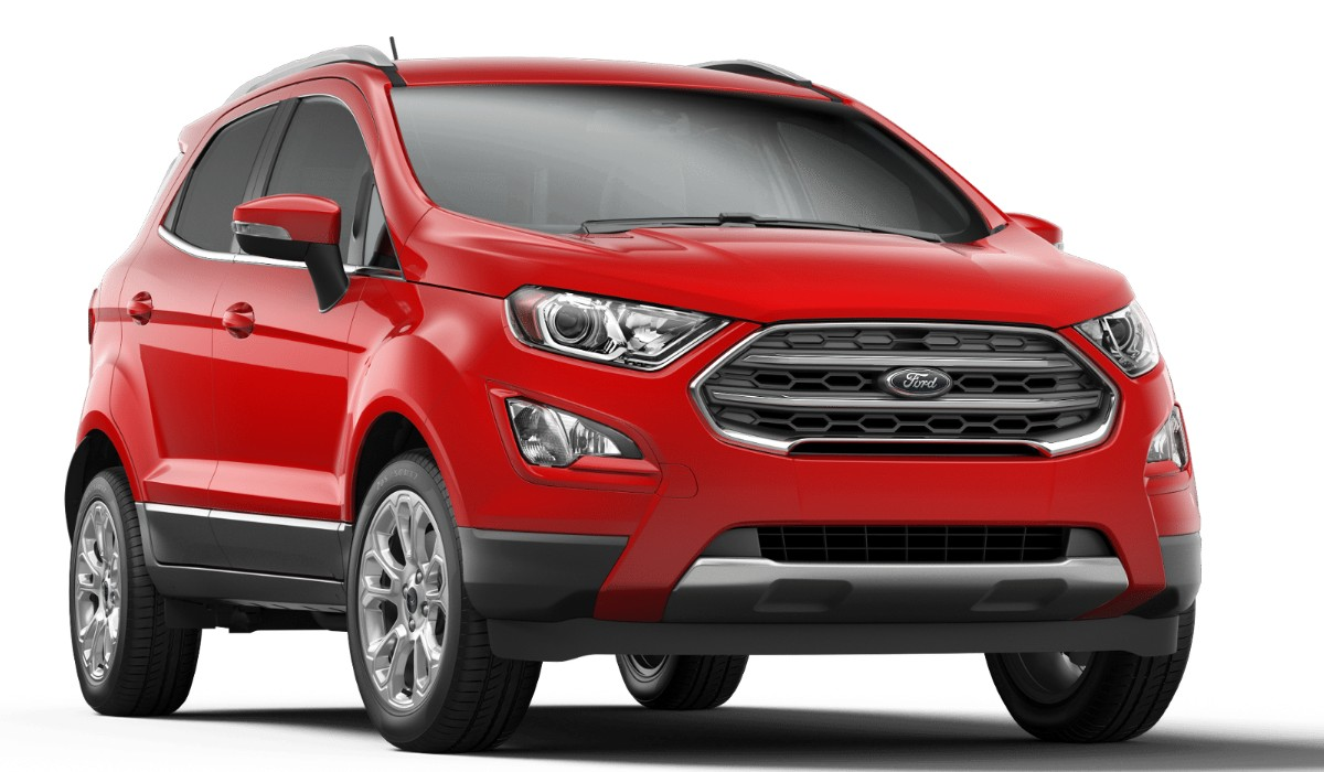 Front passenger angle of the 2019 Ford EcoSport in Race Red color