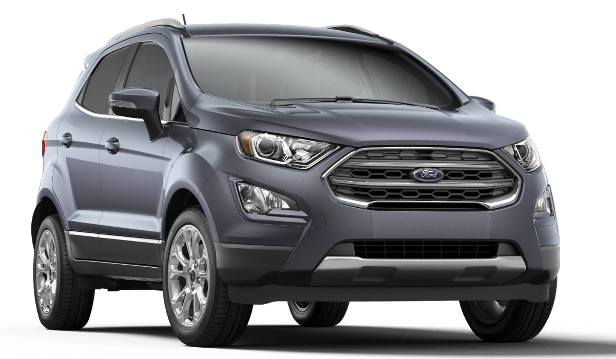 Front passenger angle of the 2019 Ford EcoSport in Smoke color