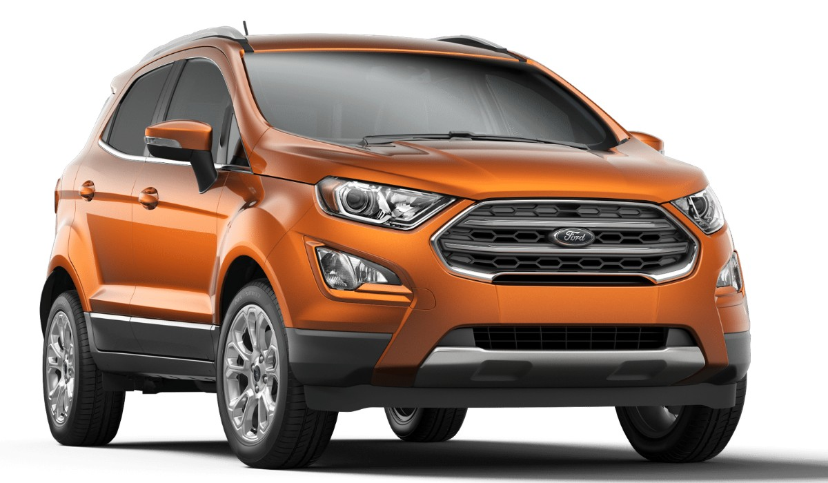 Front passenger angle of the 2019 Ford EcoSport in Canyon Ridge color