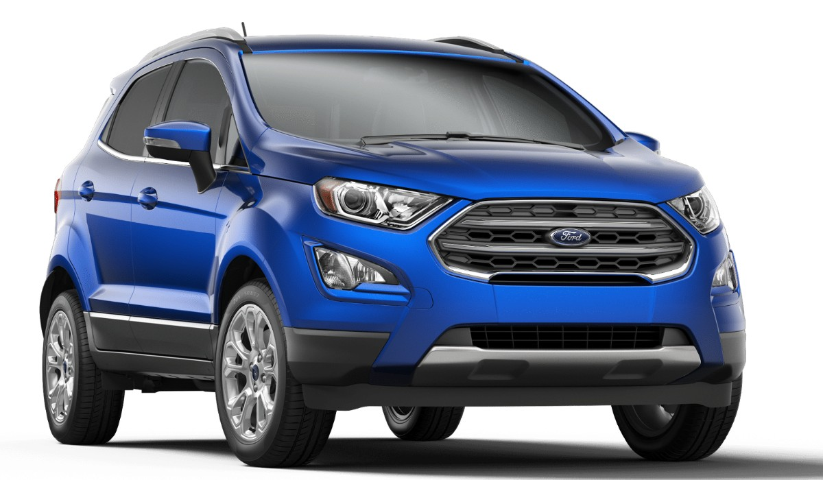 Front passenger angle of the 2019 Ford EcoSport in Lightning Blue color