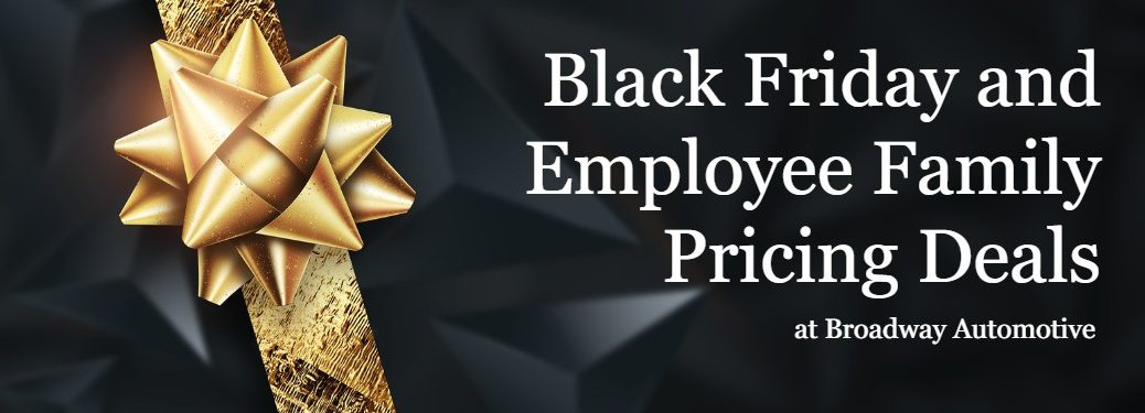 """Black background with a gold ribbon and bow and the text """"Black Friday and Employee Pricing Deals at Broadway Automotive"""""""