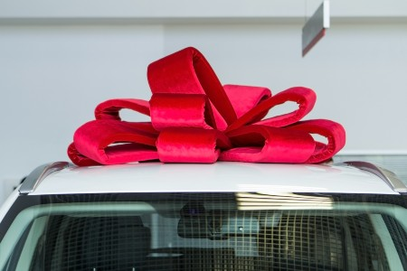 Close up of a large bow on the roof of a car