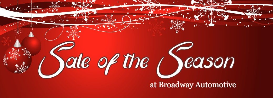 "Red Christmas background with the text ""Sale of the Season at Broadway Automotive"""