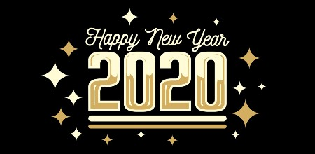 "Black background with the text ""Happy New Year 2020"" in gold"
