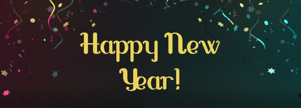 "Black background with confetti and the text ""Happy New Year"""