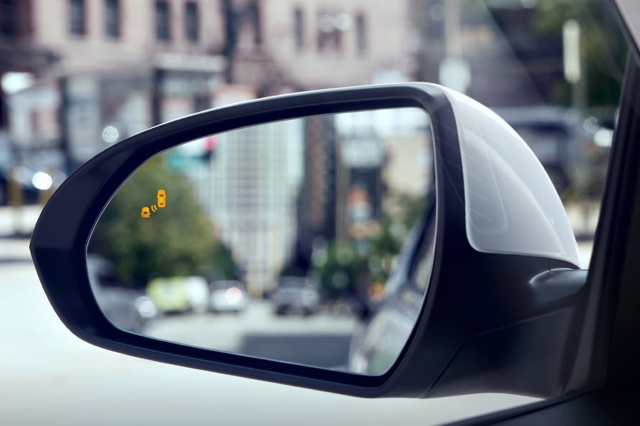Close up of the Blind Spot Monitor on the driver side mirror on the 2020 Hyundai Elantra