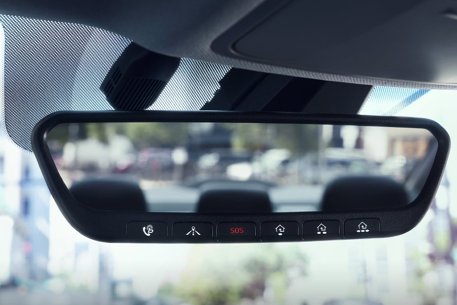 Close up of the rearview mirror inside the 2020 Hyundai Elantra