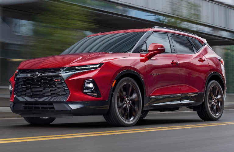 Front driver angle of a red 2020 Chevy Blazer
