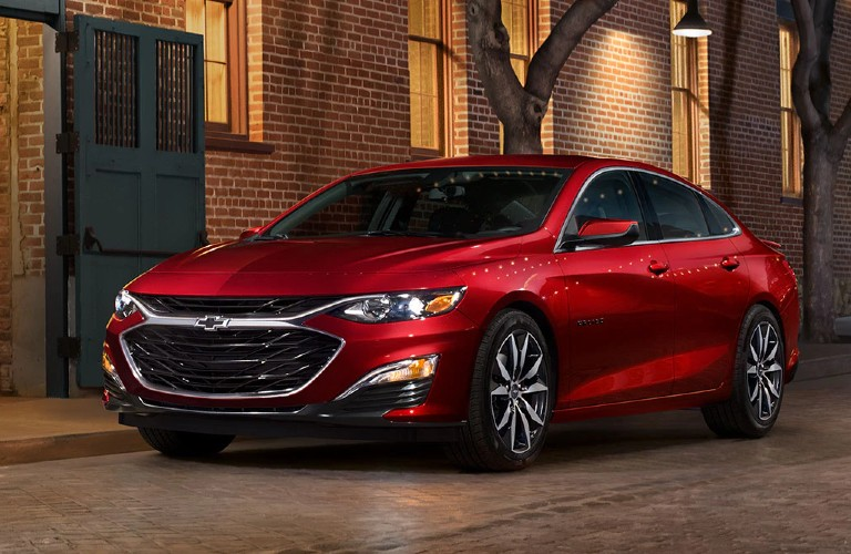 Front driver angle of a red 2020 Chevy Malibu
