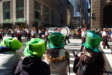 People watching a St. Patrick's Day parade