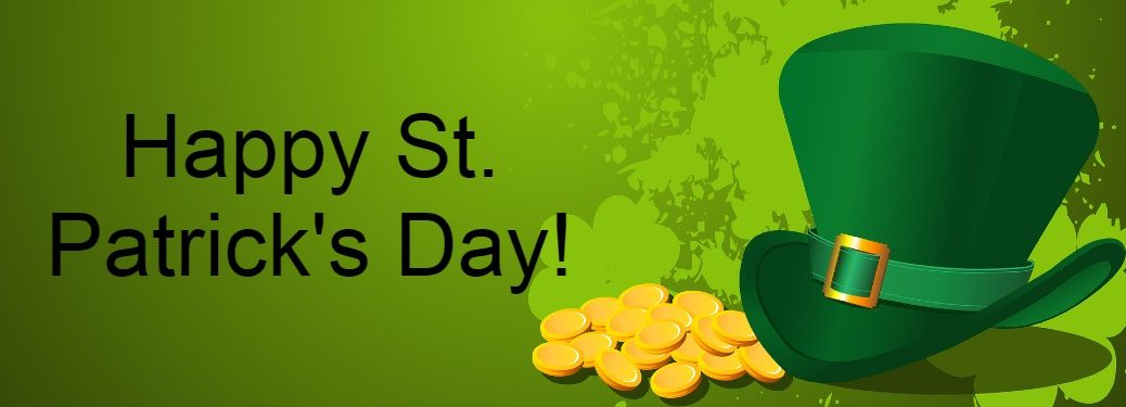 "Green graphic with gold coins and a green Irish hat with the text ""Happy St. Patrick's Day!"""
