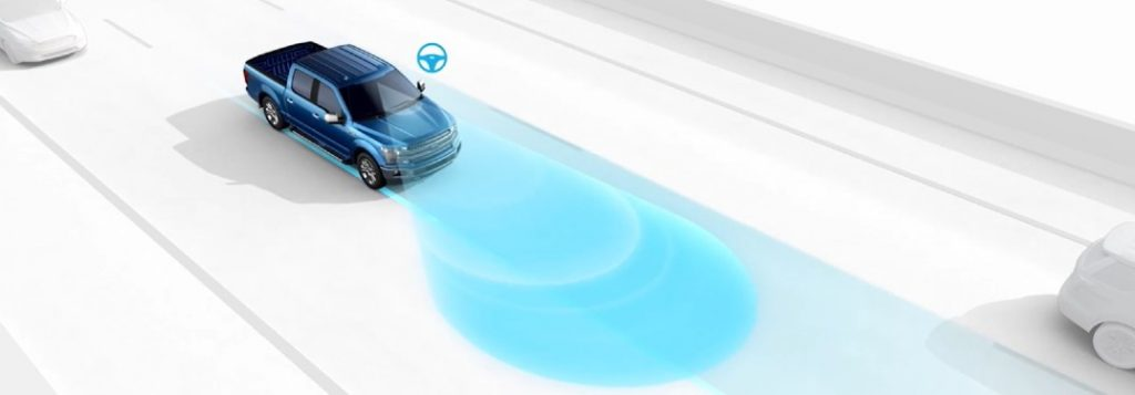 Blue 2020 Ford F-150 using the Lane Keeping System