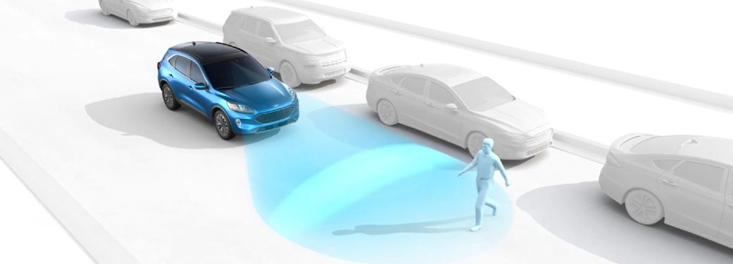 Graphic of a blue 2020 Ford Escape using the Pre-Collision Assist with Pedestrian Detection feature