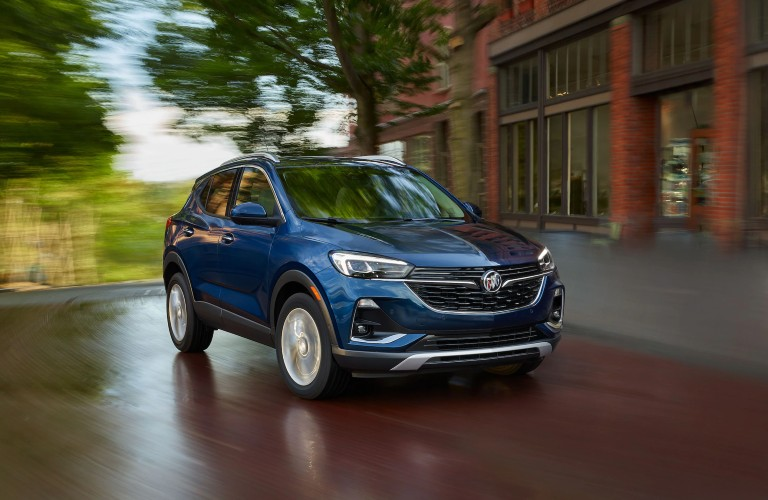 Front passenger angle of a blue 2020 Buick Encore GX