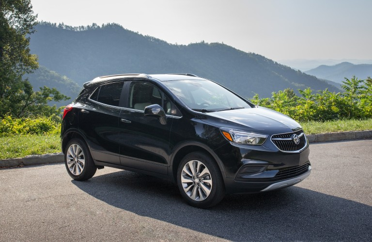 Front passenger angle of a black 2020 Buick Encore