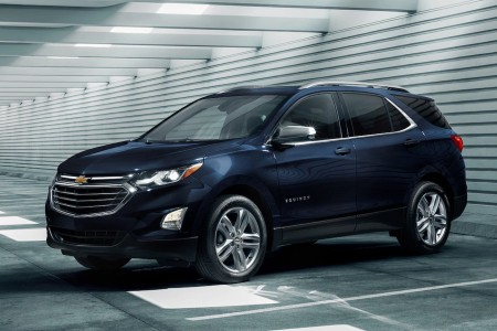 Front driver angle of a blue 2020 Chevrolet Equinox