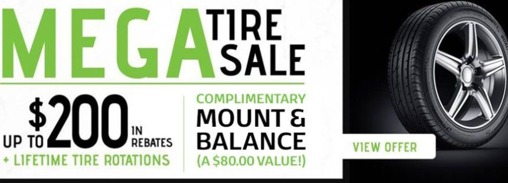 Graphic describing the Tire Sales Event at Broadway Automotive