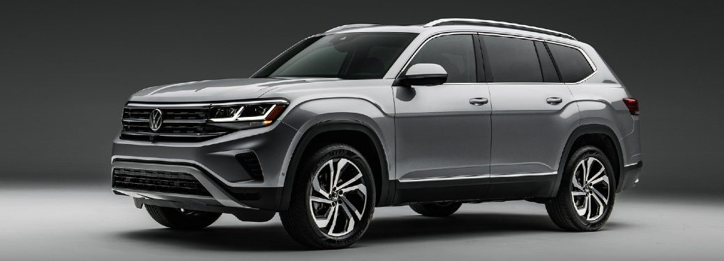 Front driver angle of a grey 2021 Volkswagen Atlas